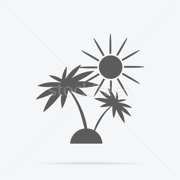 Silhueta palmeiras sol ícone preto e branco palma Foto stock © robuart