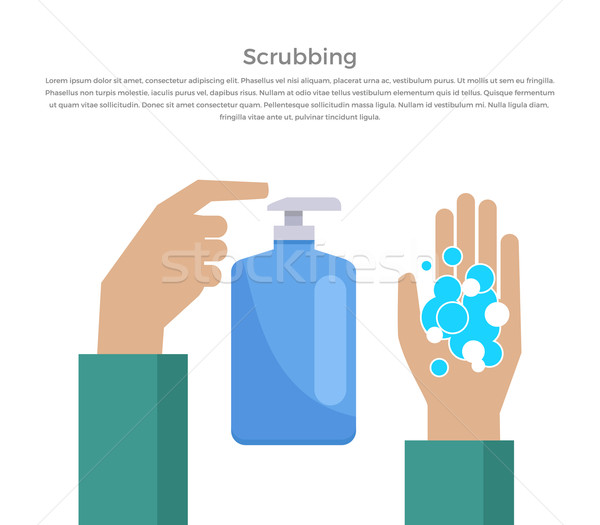 Scrubbing Hand with Soap Design Banner Stock photo © robuart