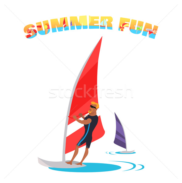 Swimming And Windsurfing on the Coast Illustration. Stock photo © robuart