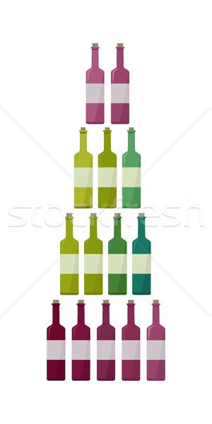 üvegek gyűjtemény különböző bor csekk elit Stock fotó © robuart