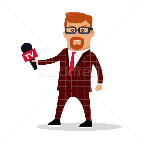 Stock photo: Media Worker Character Vector Illustration