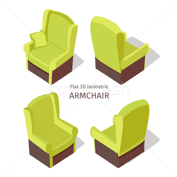 Green Armchair Illustration in Isometric Projection Stock photo © robuart