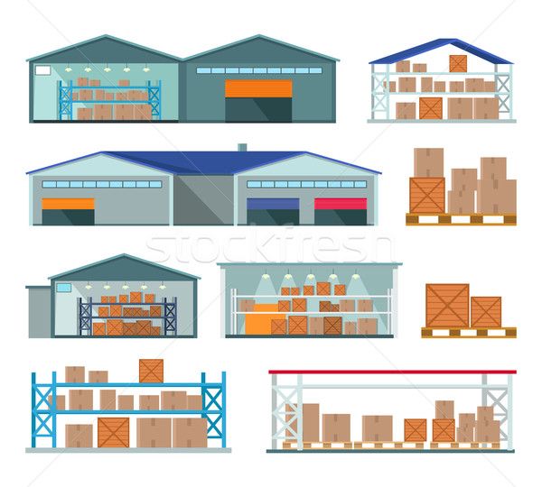 Set of Warehouses for Goods Storing and Delivering. Stock photo © robuart