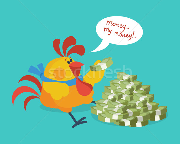 Rooster Bird Counts Money. Cock Rich Businessman Stock photo © robuart