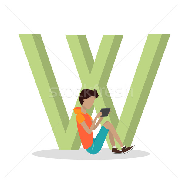 W Letter and Boy Playing on Tablet. ABC Vector Stock photo © robuart