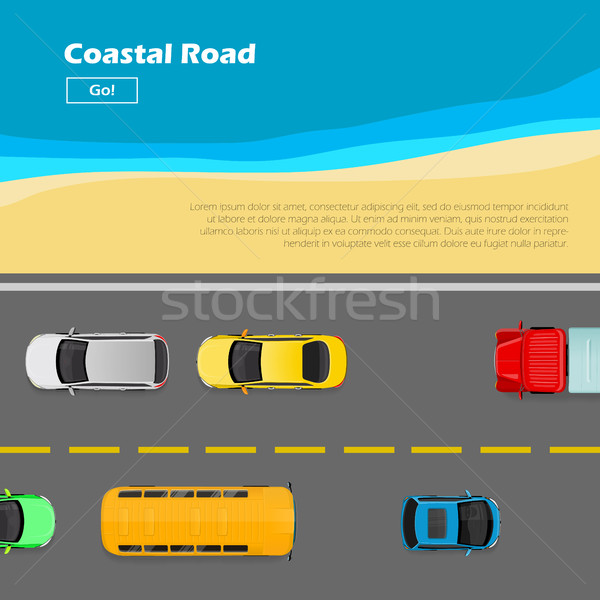 Coastal Road. AutoTransport Banner. Line Markings Stock photo © robuart
