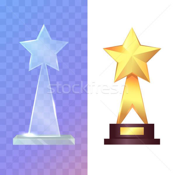 Twee glas gouden trofee Stockfoto © robuart
