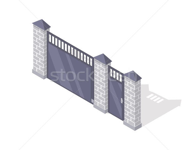 Ijzer hek baksteen kolommen geïsoleerd witte Stockfoto © robuart