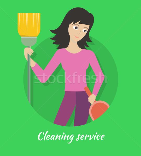 Limpieza servicio banner cepillo casa Foto stock © robuart