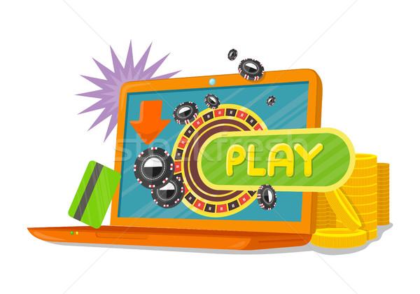 On-line jogos bandeira laptop cassino roleta Foto stock © robuart
