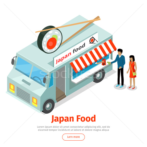 Japan or Chinese Food Truck Isometric Projection Stock photo © robuart