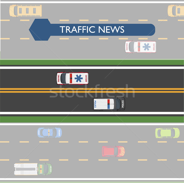 Traffic News Icon with Road Lines and Transport Stock photo © robuart