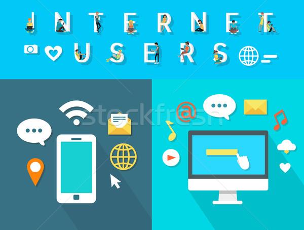 Internet usuários moderno eletrônico branco Foto stock © robuart