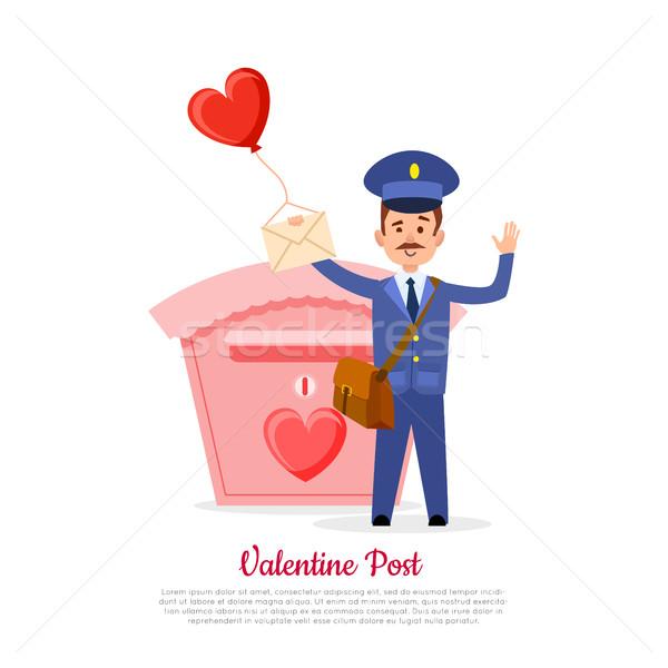 Valentijn post postbode hart ballon geïsoleerd Stockfoto © robuart