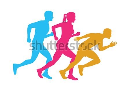 Stock photo: Run. Silhouettes of Running Men and Woman on White