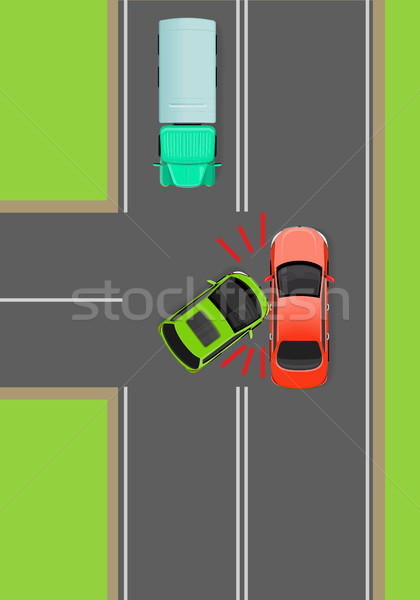 Clash of Cars on T-Junction Flat Vector Diagram Stock photo © robuart