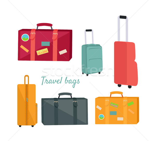 Set of Travel Suitcases and Bags Illustrations Stock photo © robuart