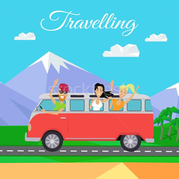 Mensen minibus gelukkig jongeren Stockfoto © robuart