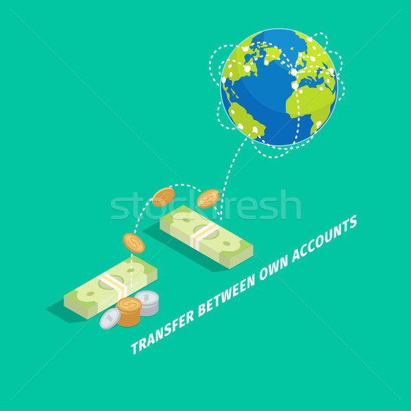 Set of Money Transfer Between Own Accounts Icon Stock photo © robuart