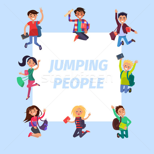 Happy Young Jumping People Banner Illustration Stock photo © robuart
