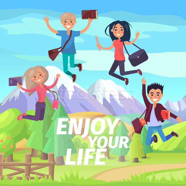 Enjoy Your Life Weekend or Holiday Jumping People Stock photo © robuart
