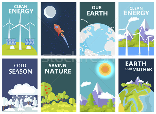 Clean Energy and Save Earth Our Mother Posters Stock photo © robuart