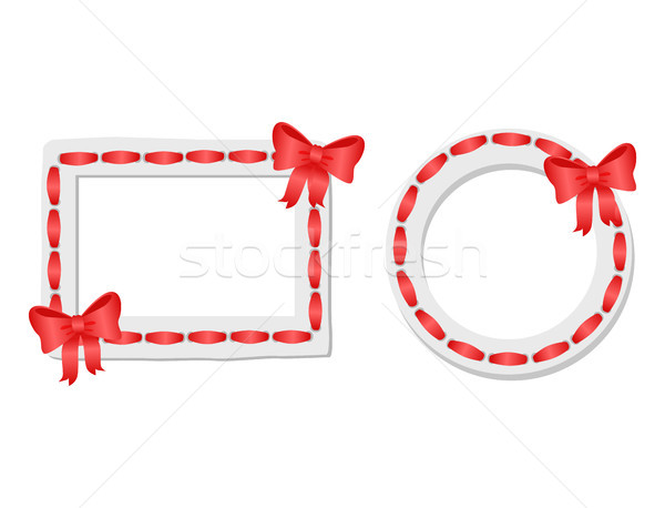 Round and Rectangular Frames with Red Tape and Bow Stock photo © robuart