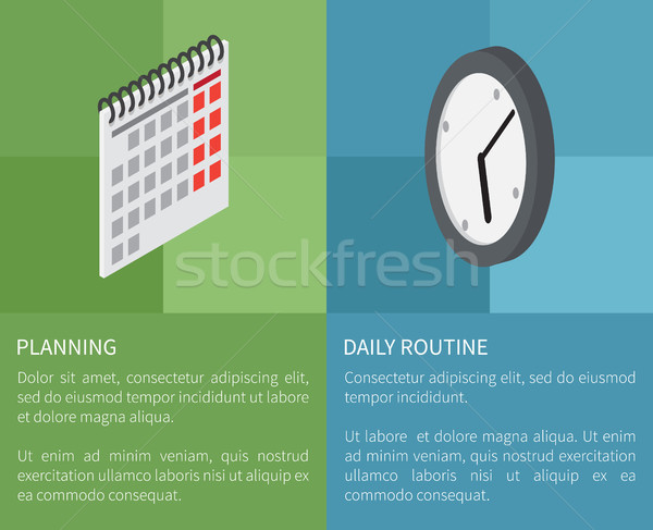 Planning Daily Routine Template Vector Poster Stock photo © robuart