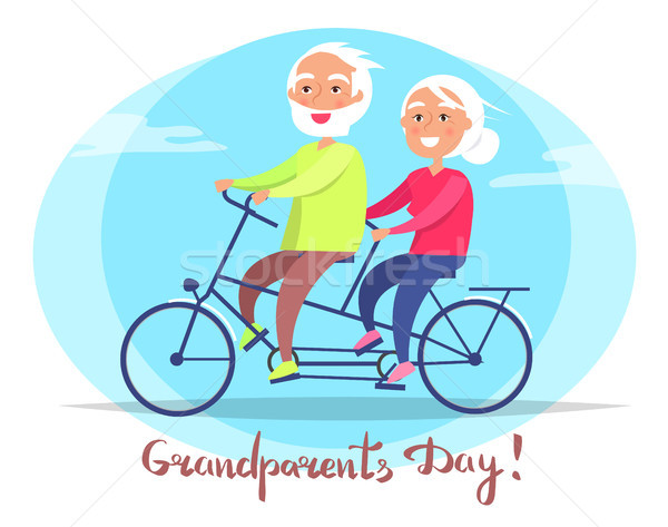 Grandparents Day Senior Couple on Bicycle Vector Stock photo © robuart