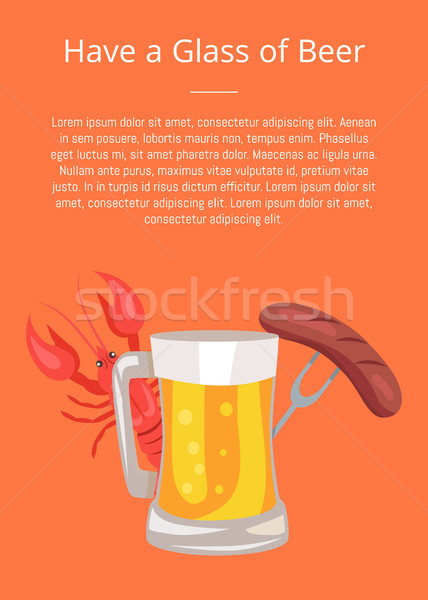 Vector Illustration of Beer, Sausages and Crayfish Stock photo © robuart
