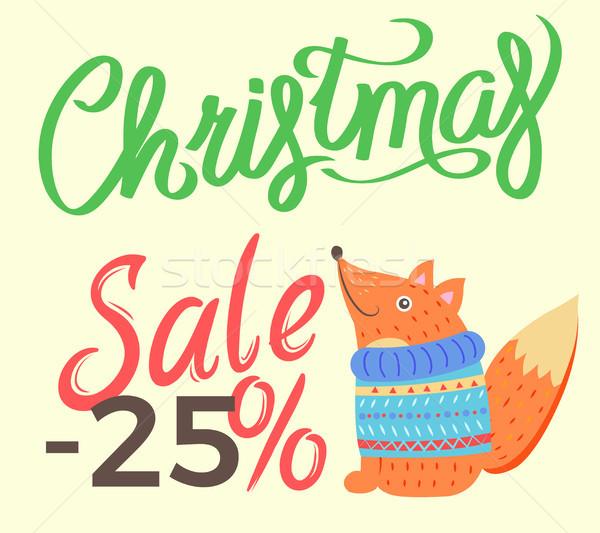 Christmas Sale -25 Fox on Vector Illustration Stock photo © robuart