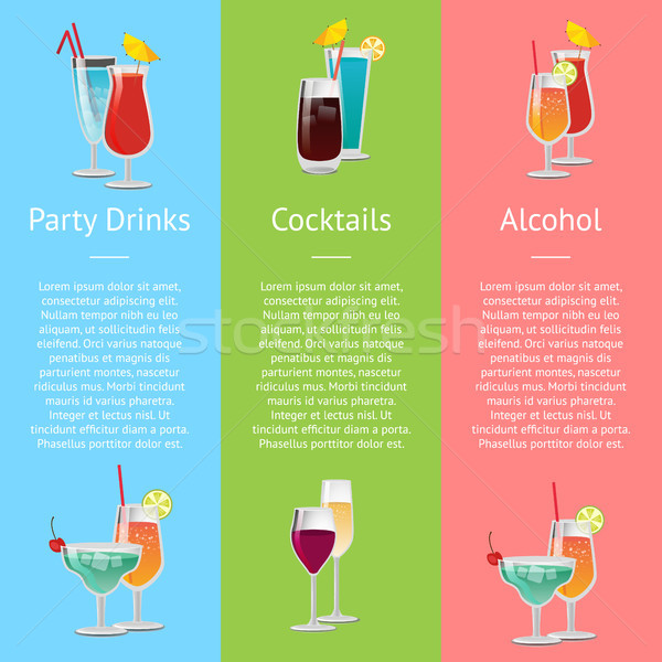 Foto stock: Cocktails · festa · bebidas · álcool · cartaz · colorido