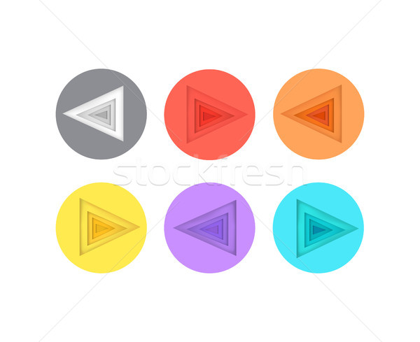 Pointers Directed to left Icons in Colorful Circle Stock photo © robuart