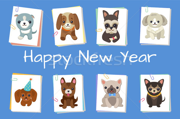 Happy New Year Pets Poster Vector Illustration Stock photo © robuart