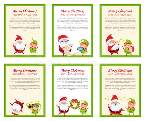 Szett karácsony bannerek vektor illusztrációk aranyos Stock fotó © robuart