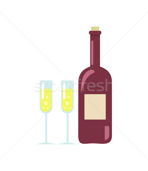 Unopened Wine and Two Glasses Vector Illustration Stock photo © robuart
