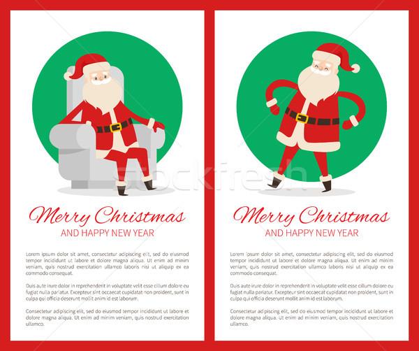 Merry Christmas Happy New Year Santa Congrats Stock photo © robuart