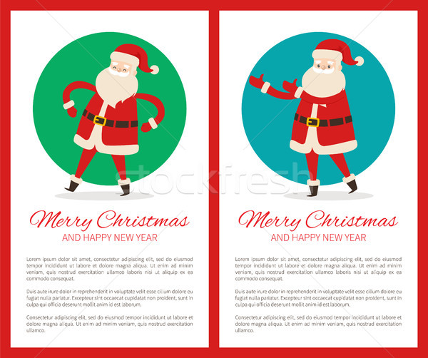 Happy New Year and Merry Xmas Poster with Santa Stock photo © robuart