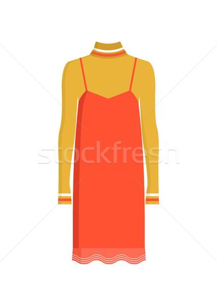 赤 スタイリッシュ ドレス カラフル ポスター 孤立した ストックフォト © robuart