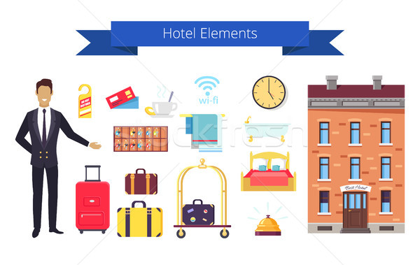 Hotel Elements Icons and Title Vector Illustration Stock photo © robuart