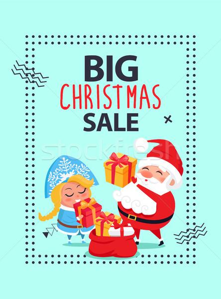 Nagy karácsony vásár szalag mikulás hó Stock fotó © robuart