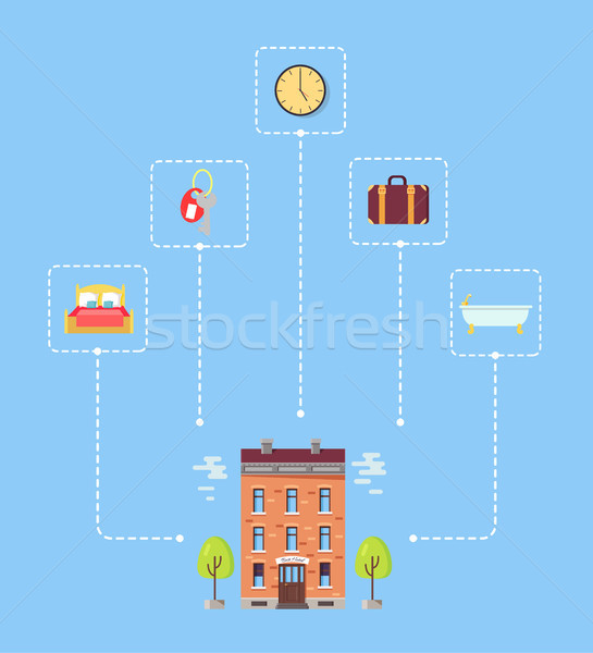 Set of Icons above Hotel with Trees Illustration Stock photo © robuart