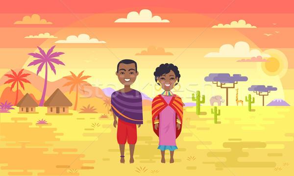 アフリカ 人 税関 男 女性 布 ストックフォト © robuart