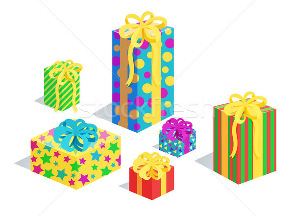 Gifts Collection in Wrappings Vector Illustration Stock photo © robuart