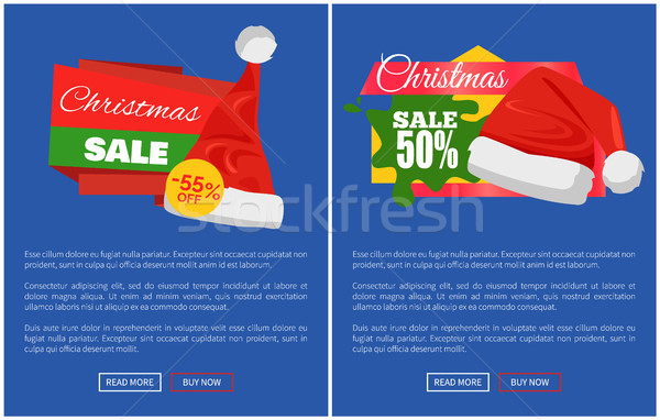 Merry Christmas Sale Santa Claus Hats Promo Labels Stock photo © robuart