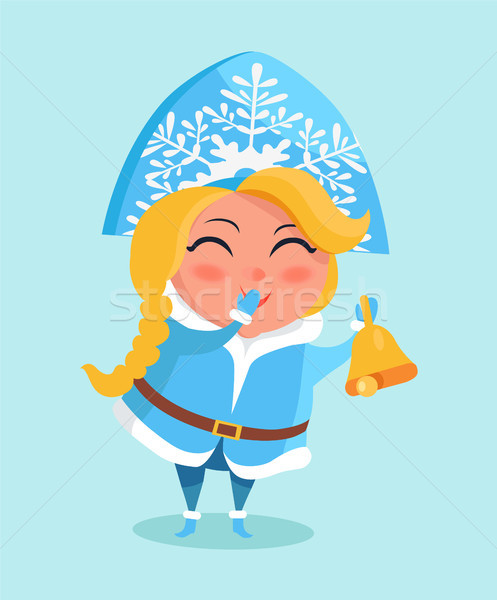 Stock photo: Snow Maiden in Cute Warm Winter Cloth Covers Mouth