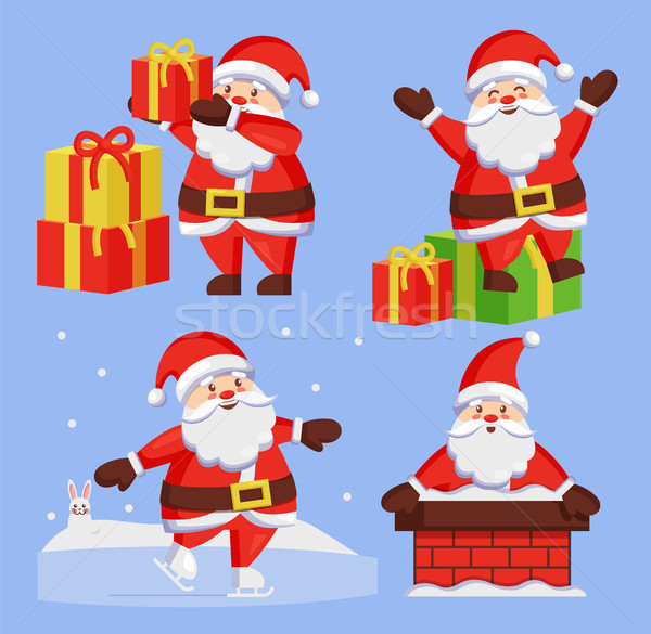Santa Clauses Set icon Vector Snow Chimney Present Stock photo © robuart