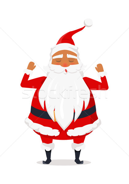 Santa Claus with Hands Raised up Isolated on White Stock photo © robuart
