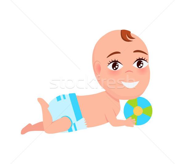 笑みを浮かべて 赤ちゃん おむつ 演奏 色 ストックフォト © robuart