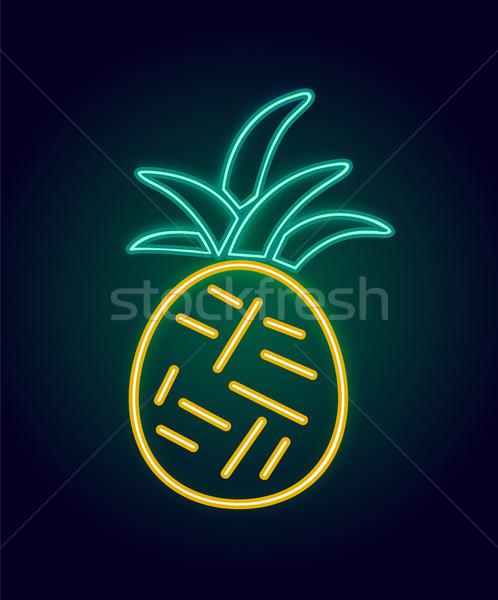Neon ananas poster tropikal egzotik Stok fotoğraf © robuart